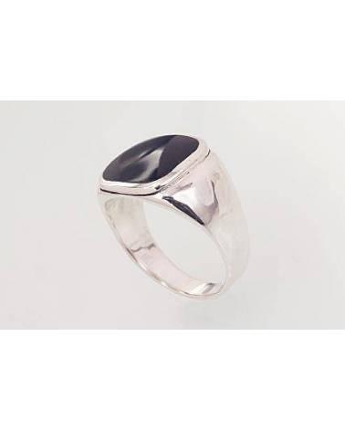 Sidabrinis žiedas vyrams(POX-BK)_ON, Sidabras925, oksidas (padengti), Oniksas 1