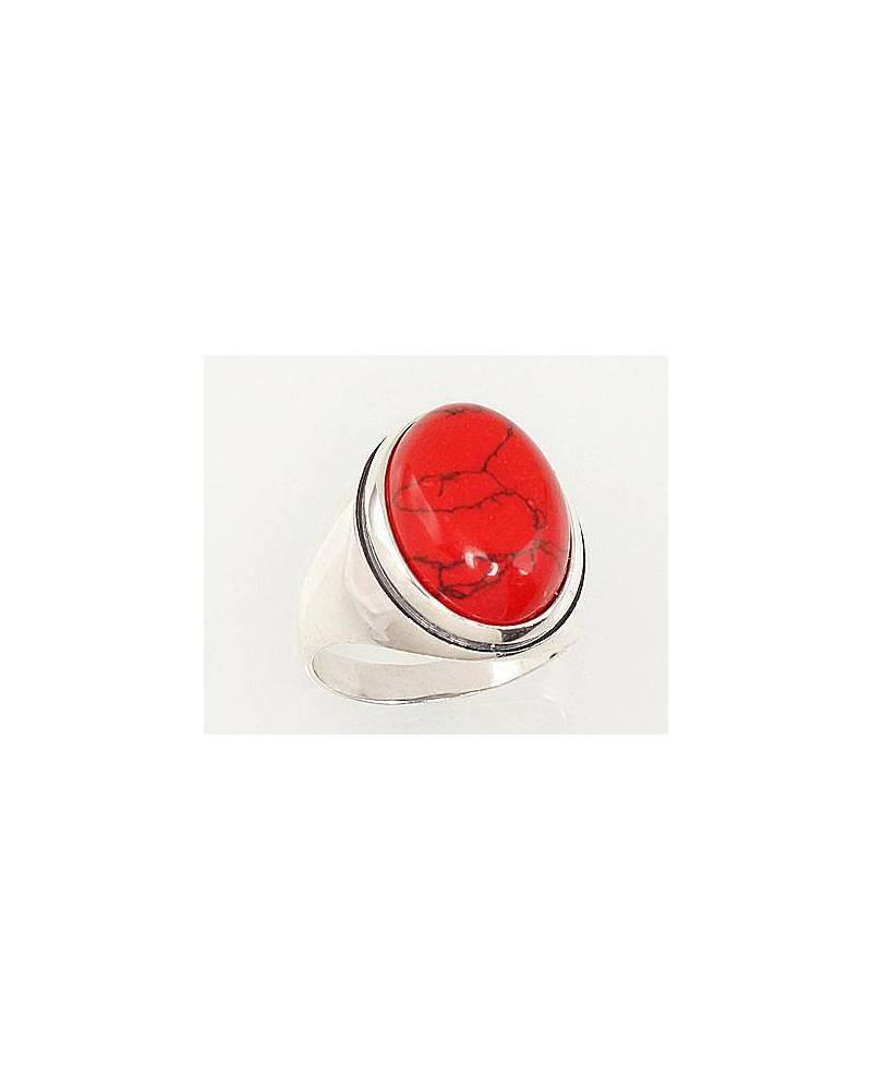 Sidabrinis žiedas(POX-BK)_COX, Sidabras925, oksidas (padengti), Koralas (Imitacija) 0
