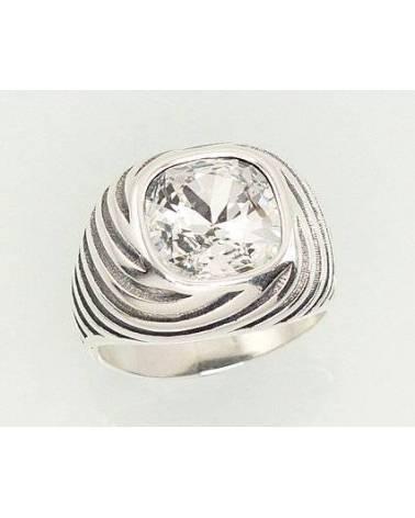 Sidabrinis žiedas(POX-BK)_SV, Sidabras925, oksidas (padengti), Swarovski kristalai 0
