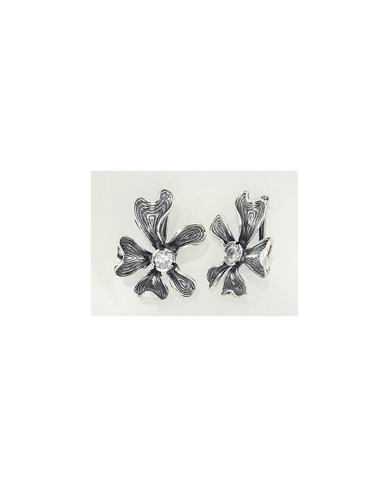 Sidabriniai auskarai(POX-BK)_CZ, Sidabras925, oksidas (padengti), Cirkonai 0
