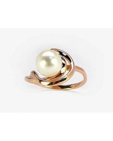 Auksinis žiedas(AU-R)_PE, Raudonas auksas585, Perlai 0
