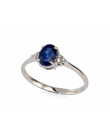 Auksinis žiedas(AU-W)_DI+SA, Baltas auksas585, Deimantai , Safyras 0