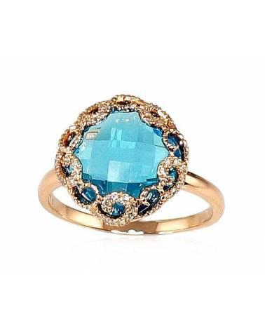 Auksinis žiedas(AU-R)_DI+TZB, Raudonas auksas585, Deimantai , Mėlynas topazas 0