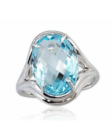 Auksinis žiedas(AU-W)_TZLB, Baltas auksas585, Mėlynas topazas 0