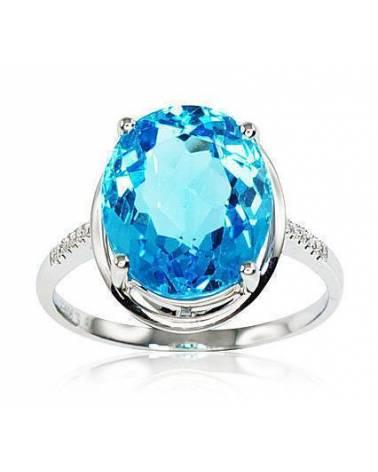 Auksinis žiedas(AU-W)_DI+TZB, Baltas auksas750, Deimantai , Mėlynas topazas 0