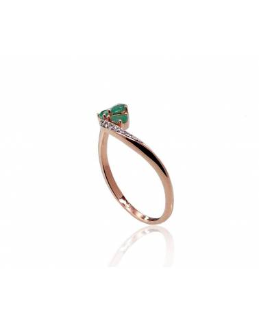 Auksinis žiedas(AU-R+PRH-W)_DI+EM, Raudonas auksas585, rodis (padengti) , Deimantai , Smaragdas 1