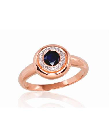 Auksinis žiedas(AU-R+PRH-W)_DI+SA, Raudonas auksas585, rodis (padengti) , Deimantai , Safyras 0