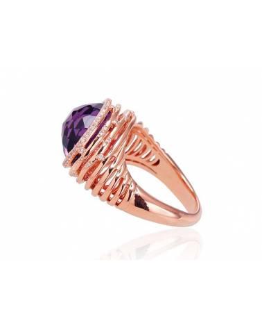 Auksinis žiedas(AU-R)_DI+AM, Raudonas auksas585, Deimantai , Ametistas 1