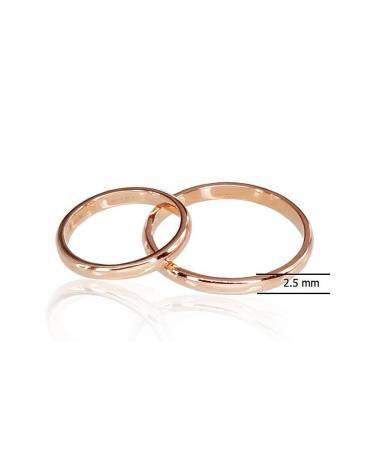 Auksinis sutuoktuvių žiedas(AU-R) (Žiedas storis 2.5mm), Raudonas auksas5851