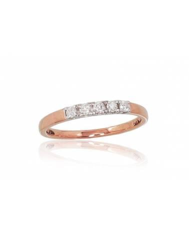 Auksinis žiedas(AU-R+AU-W)_DI, Raudonas/Baltas auksas585, Deimantai 0