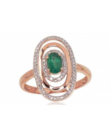 Auksinis žiedas(AU-R+PRH-W)_DI+EM, Raudonas auksas585, rodis (padengti) , Deimantai , Smaragdas 0