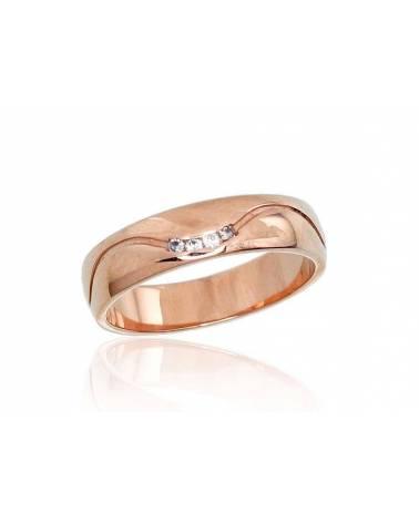 Auksinis sutuoktuvių žiedas(AU-R)_CZ (Žiedas storis 5mm), Raudonas auksas585, Cirkonai 0