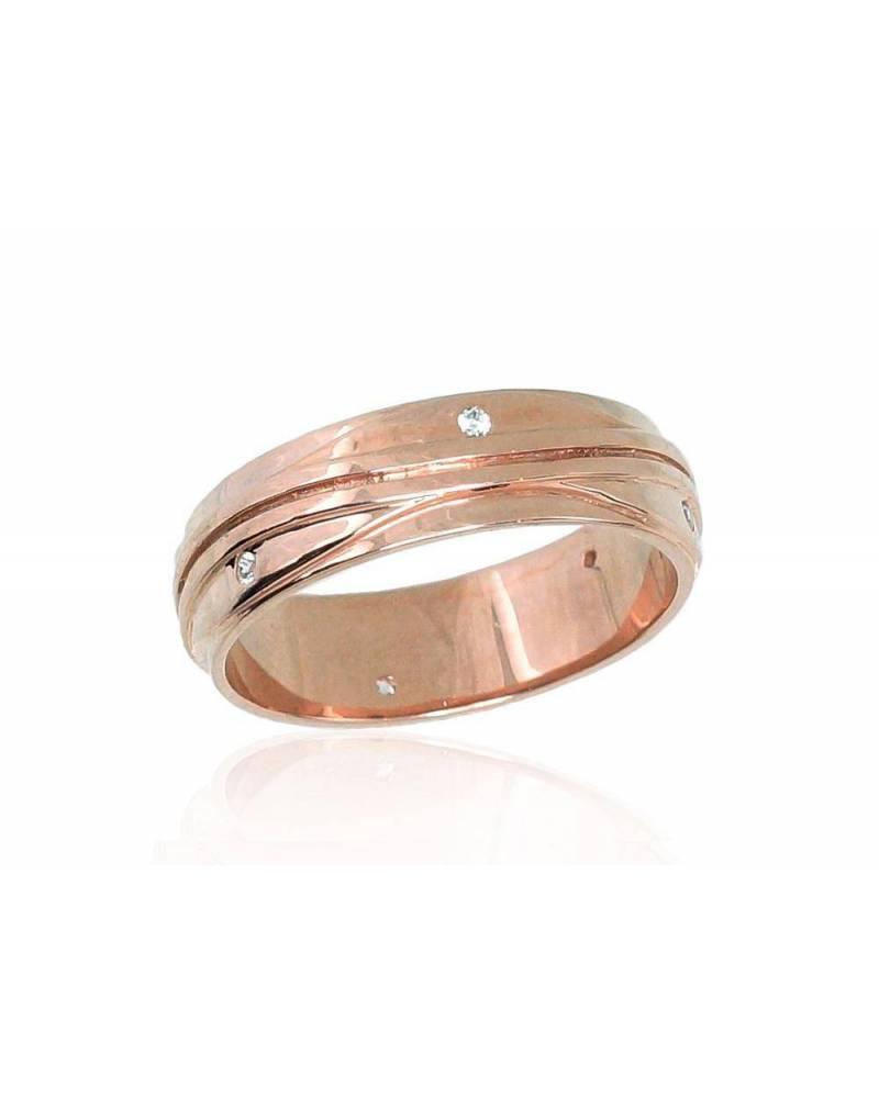 Auksinis sutuoktuvių žiedas(AU-R)_CZ (Žiedas storis 6mm), Raudonas auksas585, Cirkonai 0