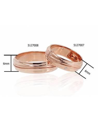 Auksinis sutuoktuvių žiedas(AU-R)_CZ (Žiedas storis 6mm), Raudonas auksas585, Cirkonai 1