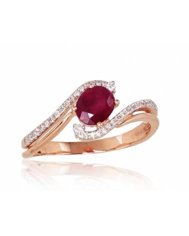 Auksinis žiedas(AU-R+PRH-W)_DI+RB, Raudonas auksas585, rodis (padengti) , Deimantai , Rubinas 0