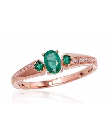 Auksinis žiedas(Au-R)_DI+EM, Raudonas auksas585, Briliantai , Smaragdas 0