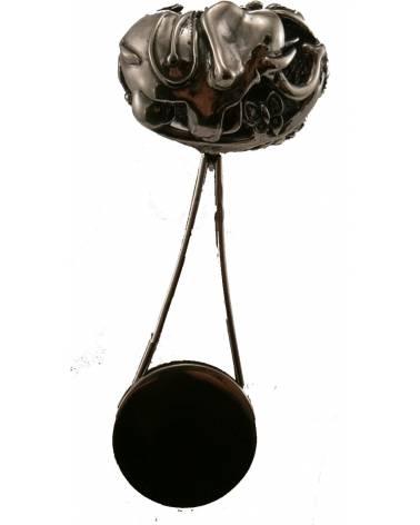 Graviruojamas sidabrinis barškutis su drambliuko atvaizdu