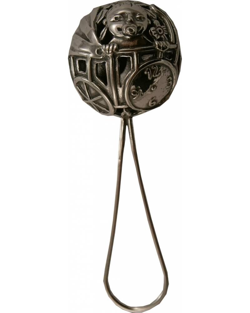 Graviruojamas sidabrinis barškutis su naujagimio atvaizdu (graviruojamas)