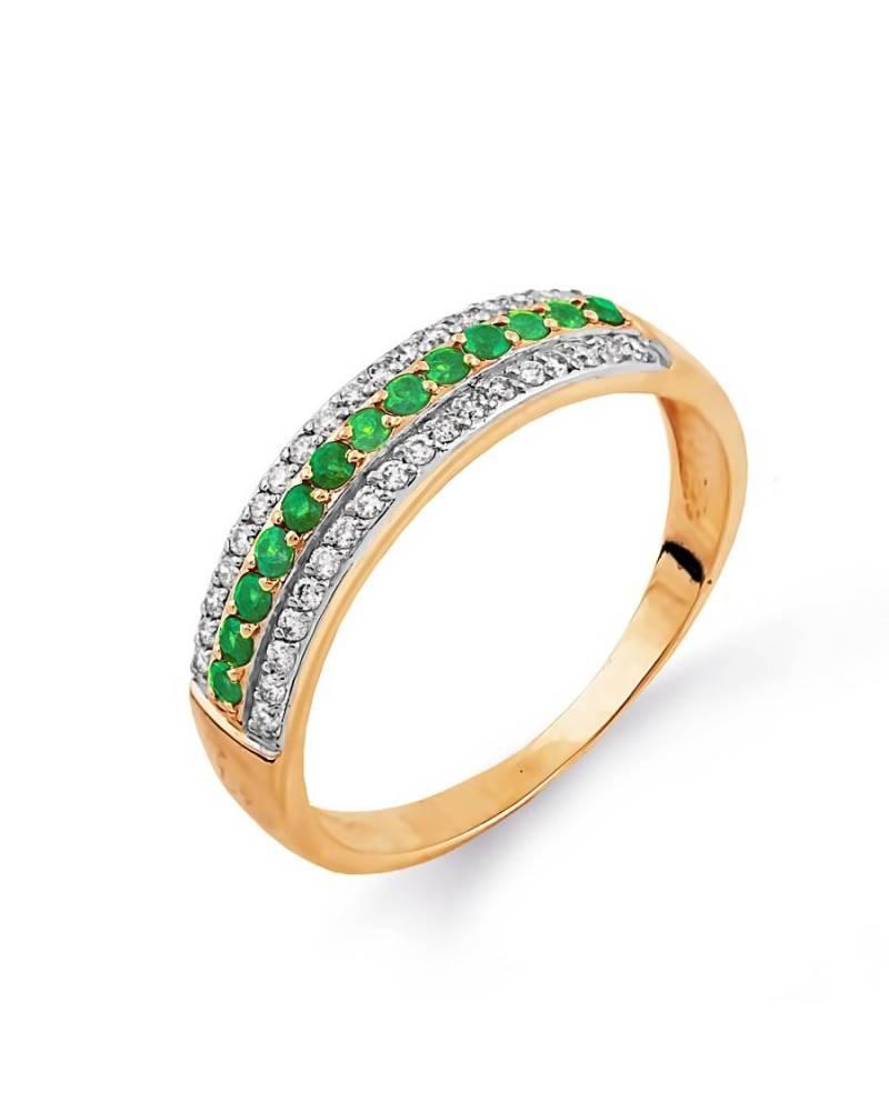 Auksinis žiedas su smaragdais ir deimantais