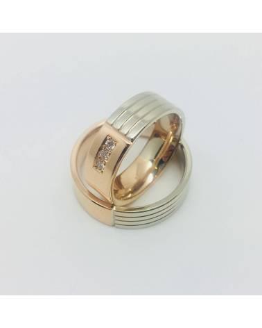 Balto-Raudono aukso vestuviniai žiedai su deimantais