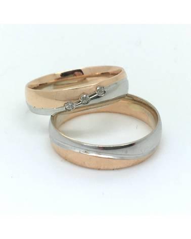 Raudono - balto aukso vestuviniai žeidai (pora)