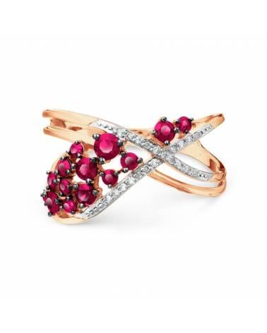 Auksinis žiedas su rubinais ir briliantais