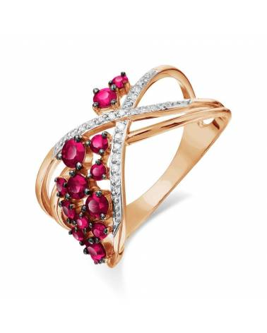Auksinis žiedas su rubinais ir deimantais