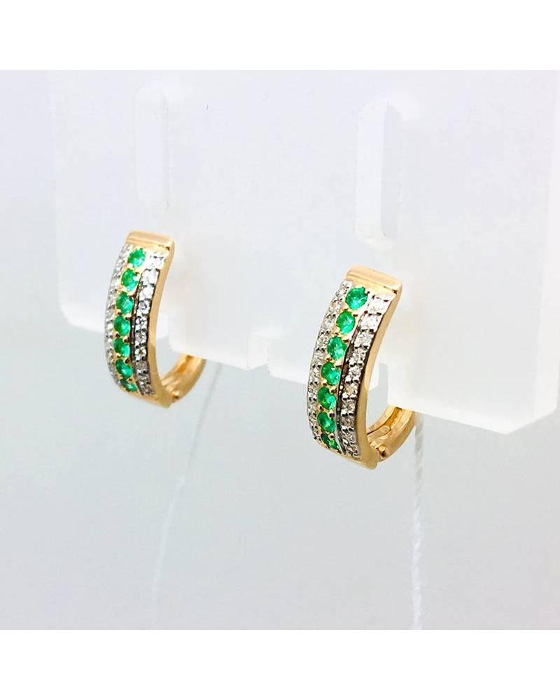 Auskarai su deimantais ir smaragdais