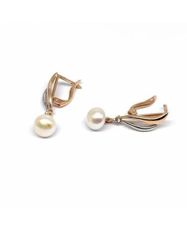 Auksiniai auskarai vinukai su perlu