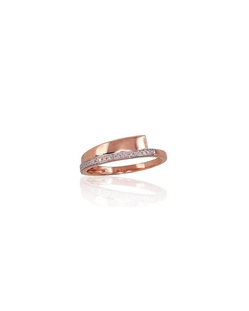 Auksinis žiedas, Raudonas auksas585, rodis (padengti) , Deimantai 0